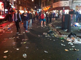 Soho is still alive late into the night