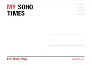 standard My Soho Times postcard back