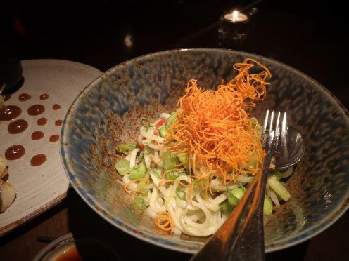 Vegetarian: Asparagus yuzu kosho dashi, edamame, shiso yaki udon
