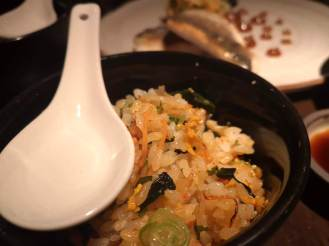 Japanese egg rice prepared at the table